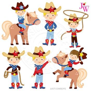 Just Cowboys Cute Digital Clipart, Cowboy Graphics