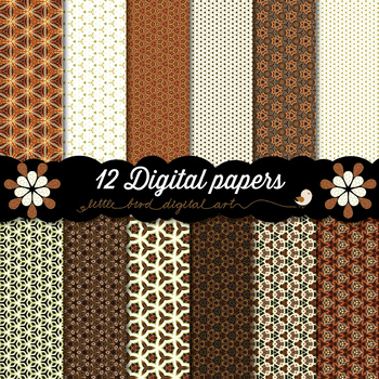 Just Elegant - 12 Digital Papers in White, Orange and Brown