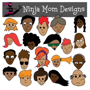 Just Faces Clip Art in Color and Black Line