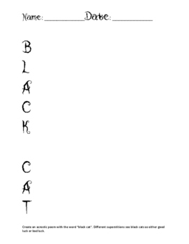 Just Halloween Acrostic Black Cat