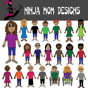 Just Kids Clip Art- Diverse- in Color and Black Line
