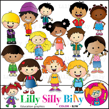 Just Kids. Clipart. BLACK AND WHITE & Color Bundle. {Lilly Silly Billy}