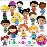 Just Kids. Clipart. BLACK AND WHITE & Color Bundle. {Lilly