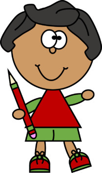 Just Kids with a Pencil Clip Art