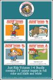 Just Kidz (Kids) Cartoon Clipart Volumes 1-4 Bundle