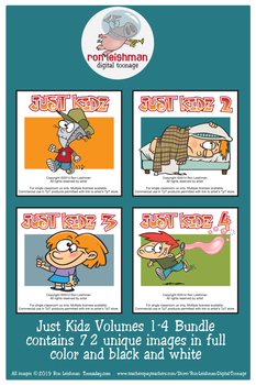 Just Kidz (Kids) Cartoon Clipart Volumes 1-4 Bundle