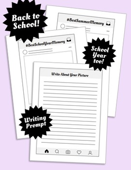 Just Like Instagram! Editable PDFs, Multi-Sizes + Back to School Writing Prompt