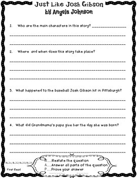 Just Like Josh Gibson Close Reading 2nd Grade Reading Street 6.1