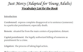 Just Mercy (Adapted for Young Adults)- VOCABULARY LIST FOR ENTIRE BOOK!!!!!!!