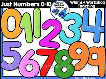 Just Numbers Clip Art 0 to 9 - Whimsy Workshop Teaching