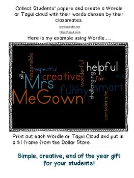 Just ONE Word {End of Year Activity & Gift for your Students}