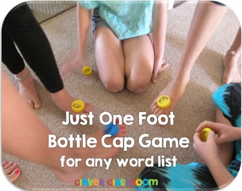Just One Foot Bottle Cap Center Game for any Word List