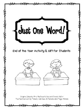 Just One Word! (End of Year Activity)