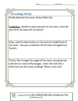 Just Plain Cat Literature and Grammar Unit