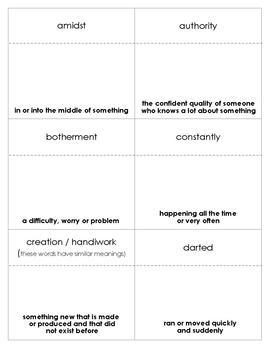 Just Plain Fancy Vocabulary Bingo