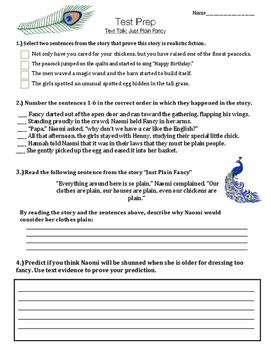 Just Plain Fancy - Vocabulary and Test Prep - Text Talk - Third Grade