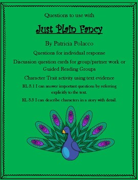 Just Plain Fancy by Patricia Polacco Questions and Character Traits