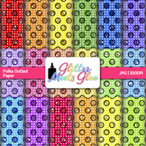 Rainbow Polka Dotted Scrapbook Paper Backgrounds {Glitter Meets Glue}