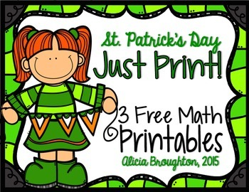 Just Print! 3 March Math Freebies - Grades K & 1