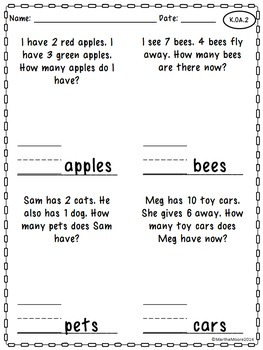 Back to School: Just Print! Common Core Printables {1st Grade Math}