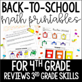 4th Grade Back to School Math Printables {Reviews 3rd Grade Skills}