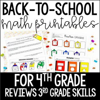 4th Grade Back To School Math Printables Reviews 3rd Grade Skills