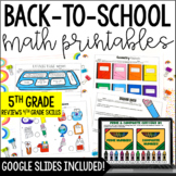 5th Grade Back to School Math Printables {Reviews 4th Grad