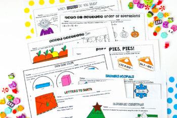 5th Grade Math Printables BUNDLED {Holiday and Seasonal}
