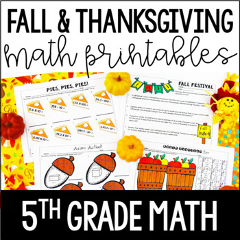 Fall and Thanksgiving Math Printables | 5th Grade Thanksgiving Math
