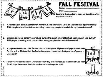 Fall and Thanksgiving Math Printables   5th Grade Thanksgiving Math