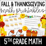 Fall and Thanksgiving Math Printables   5th Grade Thanksgi