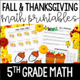 Fall and Thanksgiving Math Printables | 5th Grade Thanksgi