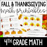 Fall and Thanksgiving Math Printables   4th Grade Thanksgi
