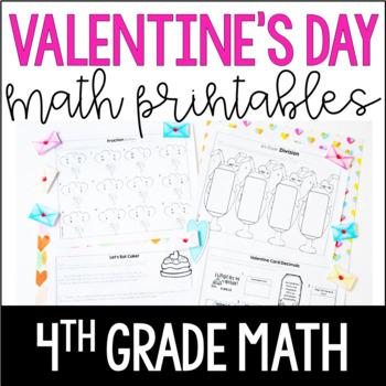 Valentine's Day Math Worksheets   4th Grade Valentine's Day Math