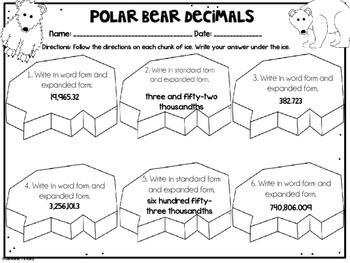Winter Math | 5th Grade Winter Math Worksheets