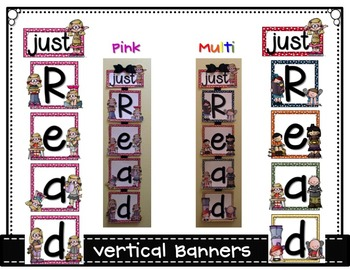 Just READ Banner Pink Edition (Vertical) with Bookmarks