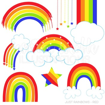 Just Rainbows Cute Digital Clipart, Red Classic Rainbow Graphics