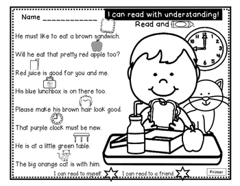 Just Rebus - Comprehension and Sight Word Practice for Beginning Readers