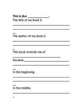 Just Right Activity for Independent Reading at Home