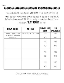 Just Right Book Challenge