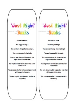 Just Right Book - Free Bookmark