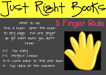 Just Right Books - Anchor Chart