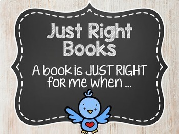 Just Right Books Posters Distressed Wood Chalkboard Shabby Chic Classroom Decor