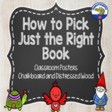 Just Right Books Posters - Distressed Wood and Chalkboard