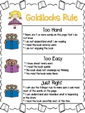 Just Right Books poster (goldilocks rule)