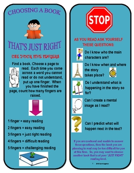Just Right Reading Bookmarks To  Make Independent Reading Successful