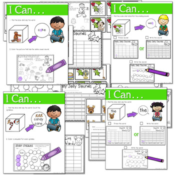 Math and Literacy Center: Just Roll With It: December-editable