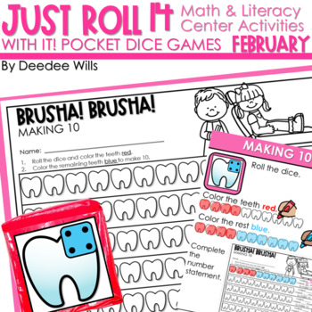 Math and Literacy Center: Just Roll With It: February-editable