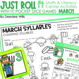 Math and Literacy Center: Just Roll With It: March-editable