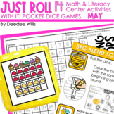 Math and Literacy Center: Just Roll With It: May editable